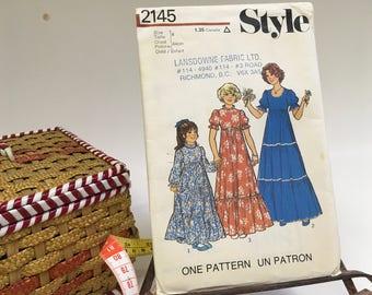Style Sewing Pattern # 2145 Maxi Dress Girls Childs Bridesmaid Party Boho Dress