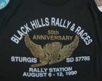 Vintage 90's 1990 STURGIS Black Hills Rally & Races 50th Anniversary Motorcycle Biker TANK Top T shirt XS