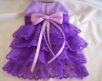 Love Purple Lace Harness Dog Dress  XXXS XXS XS S M