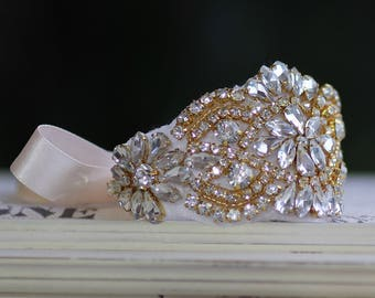 Gold Crystal Bridal Cuff, Gold Beaded Crystal Cuff, Crystal Wedding Cuff Bracelet, Gold Crystal Bracelet Cuff,  GEMIMA G