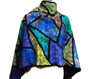 Blue Shawl Green Scarf Purple Shawl Geometric Pattern Felted Wool Shawl Nuno Felt Shawl