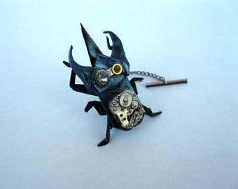 STEAMPUNK origami atlas beetle pin