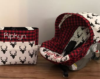 Diaper Bag Car Seat Carrier Cover Made With Red Plaid And Hello Bear Buck Night