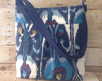 Crossbody Diaper Bag / Large Pleated Crossbody Bag - Made to Order - Navy Blue Ikat Fabric