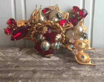 Vintage Red Rhinestone Brooch, Pearls
