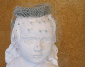 Vintage *Something Blue* Chapeau with Polka Dot Blusher Veil, Blue Cloche with Blusher Veil, Blue Hat with Veil, 1950s hat with blusher veil