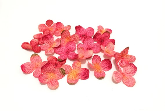 Silk Flowers - 20 Hydrangea Blossoms in Fuchsia Pink with Yellow - Artificial Flowers