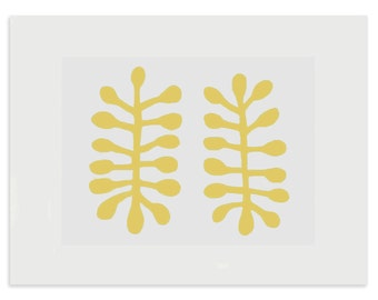 Matisse inspired, original abstract screenprint. Yellow, leaf motif. Gift idea art print by Emma Lawrenson