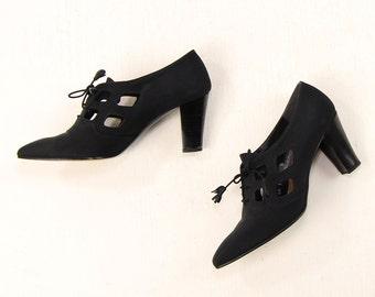 VINTAGE 1990s Oxford Heels Black Cutout Size 6