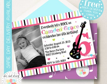 Rock Star Birthday Invitation, Rock Star Invitation, Rock Star Party, Girl First Birthday, Girl Birthday, Rock Star Photo Invite
