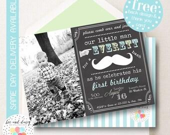 Mustache Birthday Invitation, Mustache Invitation, Mustache Party, Boy First Birthday, Boy Birthday, Chalkboard Mustache Invite, BeeAndDaisy