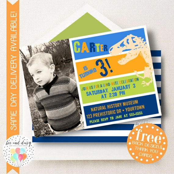 Dinosaur Invitation For Boys Birthday Party Printable Photo Invite Kids First Invitations Invites BeeAndDaisy