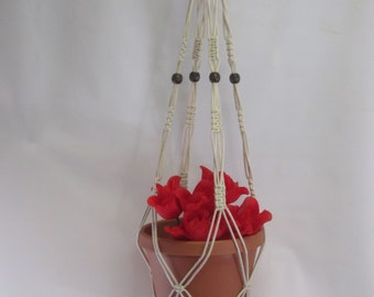 Macrame Plant Hanger Cotton Cord Vintage Style Beige 40 inch With BEADS