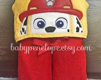 Paw Patrol - Marshall-  Hooded Towel - Paw patrol Birthday gift - Paw Patrol Theme - Personalized Paw Patrol gift for boy or girl
