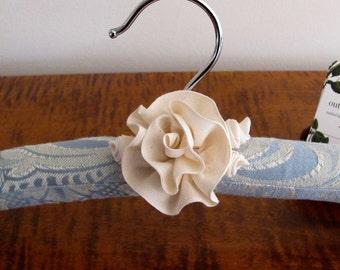 Brides Hanger, Blue Brides Hanger, Damask Bride Hanger with flowers, Wedding Hanger, Something Blue, Wedding Hanger, Bridal Hanger Blue