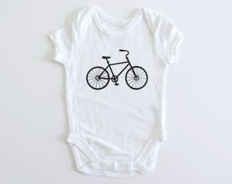 New Bike Hipster Baby Onesie // Size NB-24 Months // You Pick Color