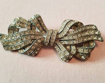 SALE Vintage Pave Clear Rhinestone Large Bow Brooch Silver Tone Metal
