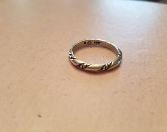 Vintage Sterling Silver 925 Band Ring 1980s Twist Ring Size 6.26 Wedding Band