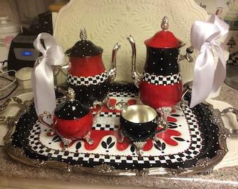 Vintage Silver Tea Set/Custom Painted
