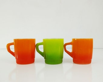 Orange & Green Fire King Mugs / Vintage Coffee Cups, Set of 3