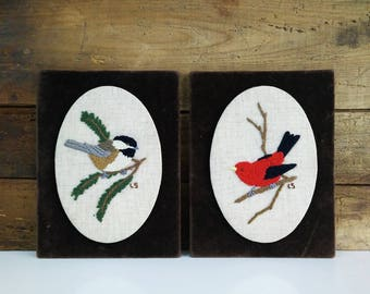 Vintage Bird Crewel Pair on Velvet