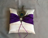 name embroidery ring bearer white pillow custom made purple satin with peacock feather