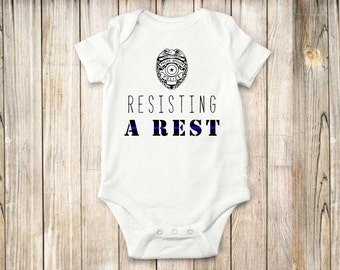 Police, onesie, Law enforcement, baby clothing, bodysuit, resisting a rest,