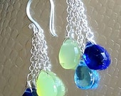 New! Gemstone Drop Earrings London Blue Quartz Swiss Blue Topaz and Prehnite on Sterling Siver
