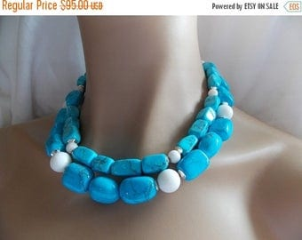 25% Off Spring Sale Turquoise Statement Necklace with White Agate 2 Strand Beaded Blue and White Necklace