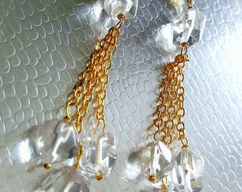 New Rock Crystal Quartz Nugget Dangle Earrings on Gold Vermeil Wedding Jewelry Gift for Her