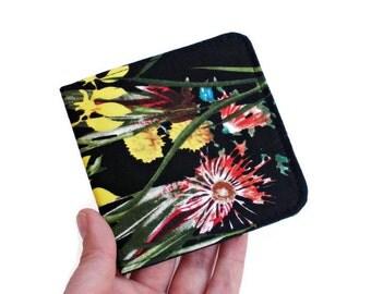 Vegan Wallet Women,Slim Minimal Wallet,Floral Billfold,Tropical Card Case,Botanical Art Gift,Hawaiian Wallet,Fold Over Wallet,Skinny Wallet
