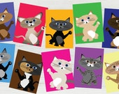 Printable Pack of 10 Illustrated Cat Card Set ~ INSTANT DOWNLOAD