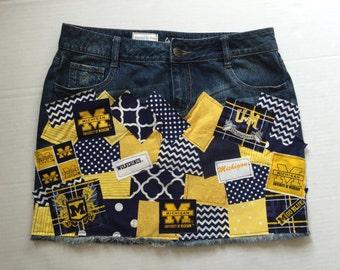 University of Michigan Ladies Women Deco Patch Ladies Custom Denim Skirt sz 0 2 3 4 5 6 7 8 10 12 14 16 18 20 22 24