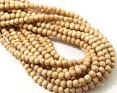 "Meranti Wood Beads, 4mm - 5mm, ""Philippine Mahogany,"" Light, Round, Natural Wood Beads, Smooth, Small, 16 Inch Strand - ID 2166-LT"