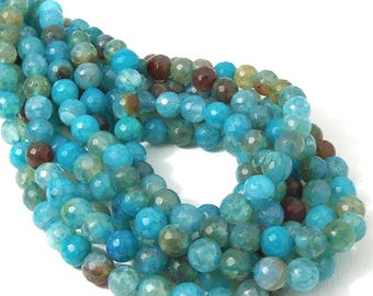 Aqua Fired Agate, Light Blue, Round, Faceted, 8mm, Crackle Agate, Gemstone Beads, 15 Inch Strand - ID 558
