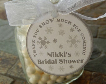 """40 Thank You SNOW Much Custom Bridal or Baby Shower Winter Snowflakes 1.5"""" Favor Tags - For Cake Pops - Lollipops - Printed Gift Favor Tags"""