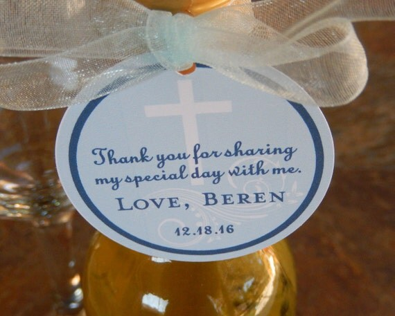 """Baptism or Christening Custom Thank You 2"""" Favor Tags - For Mini Wine or Champagne Bottles - Catholic Party Favors - (60) 2"""" Gift Tags"""