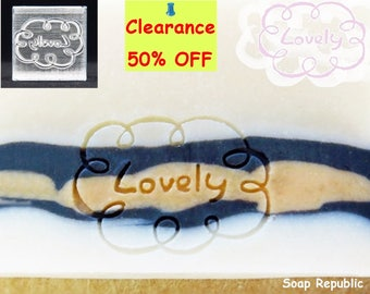 50% off ~ 'Lovely' Acrylic Soap Stamp / Cookie Stamp /  Clay Stamp