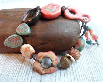 Funky Fresh Forest Beaded Bracelet in Asymmetrical Design