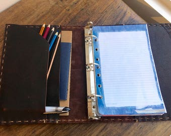 5.5 x 8.5 binder, Leather 3 ring binders, Small a5 planners and organizers, Half page binder, A5 pad, Small three ring binder, 3 pockets