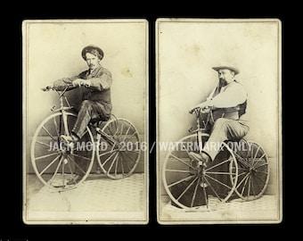 Super Rare 1860s CDV Photos - Carson City Nevada Pioneers on Boneshaker Bikes!