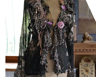 Beautiful Unique Floaty Feminine Transparent  Black Jacket HIPPIE FLOWERS Boho Fairy  Tribal Tattered Gipsy