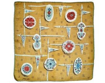 VINTAGE DESIGNER HANKIE Jeanne Miller Medieval Lances & Shields on Mustard Yellow Field Signed Like New Blue Hand Rolled Hem Linen