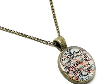 Pittsburgh Map Necklace. Pittsburgh Necklace. Made With A Real 1953 Vintage Map. Ready To Ship. Pennsylvania Map Pendant Necklace. Gifts