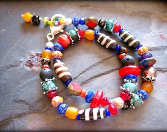 African Ethnic Tribal Double Wrap Bracelet, Global Nomad Urban Bead Bracelet, Hippie Gypsy Genuine Turquoise Bracelet