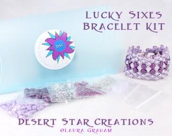 Lucky Sixes Cuff Bracelet Bead Kit in Lavender Purple, DiamonDuos, Silky Beads, Swarovski Crystal, Beadweaving Bracelet Kit, Beaded Cuff Kit