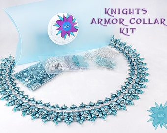 Knights Armor Necklace Bead Kit in Turquoise Silver, Arcos Par Puca, DiamonDuo Bead, Swarovski Crystal, Beadweaving Collar Kit, Bead Kit