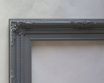 Ornate Baroque 11 x 14  Open Picture Frame painted Dark Gray