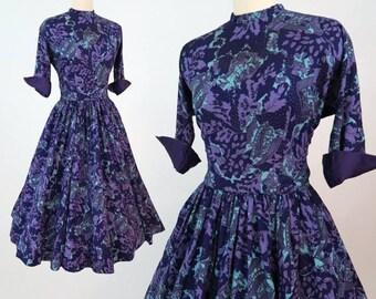 ANNE FOGARTY 1950s Printed Silk Dress / Vintage Designer 50s Dress