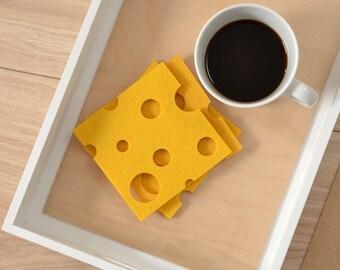 Felt coasters, felt coasters cheese shape, six elements